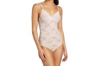 Bali Women's Pink Size 36D Floral Lace V-Neck Body Suit Shapewear