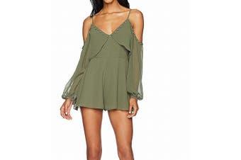 Keepsake The Label Womens Romper Olive Green Size Large L Cold Shoulder