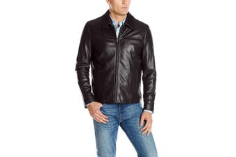 Cole Haan Mens Jacket Black Size Small S Full Zip Motorcycle Leather