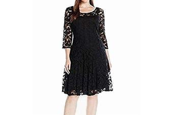 Chetta B Women's Dress Deep Black Size 14W Plus A-Line Lace Detial