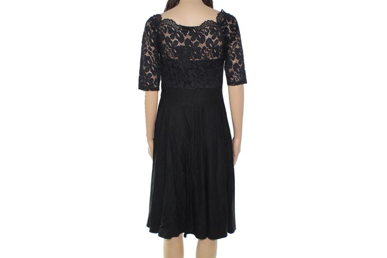 Miss May Women's Dress Deep Black Size Medium M A-Line Lace Contrast