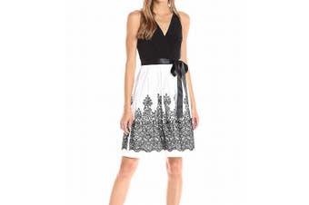 Chetta B Women's Dress Black Size 8 A-Line Surplice Embroidered Sash