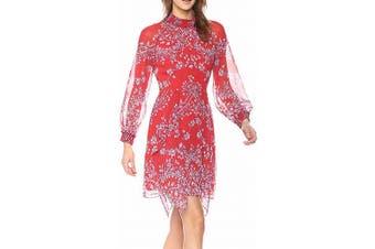 BCBGMAXAZRIA Women's Dress Red Size 2 A-Line Floral Smocked Neck