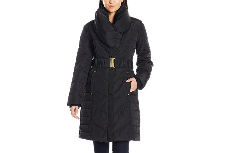 Brigette Bailey Women's Coat Black Size Large L Belted Pillow Collar