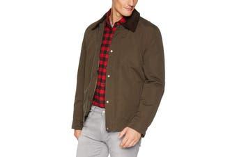 Cole Haan Mens Jacket Green Size Medium M Corduroy Barn Rainwear