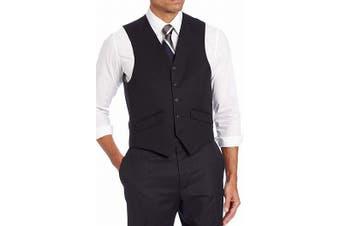 Haggar Mens Suit Separate Black Size 42 Regular Fit Button Down Vest