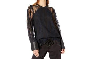 BCBGMAXAZRIA Women Blouse Black Size Small S Faux Leather-Trimmed Lace