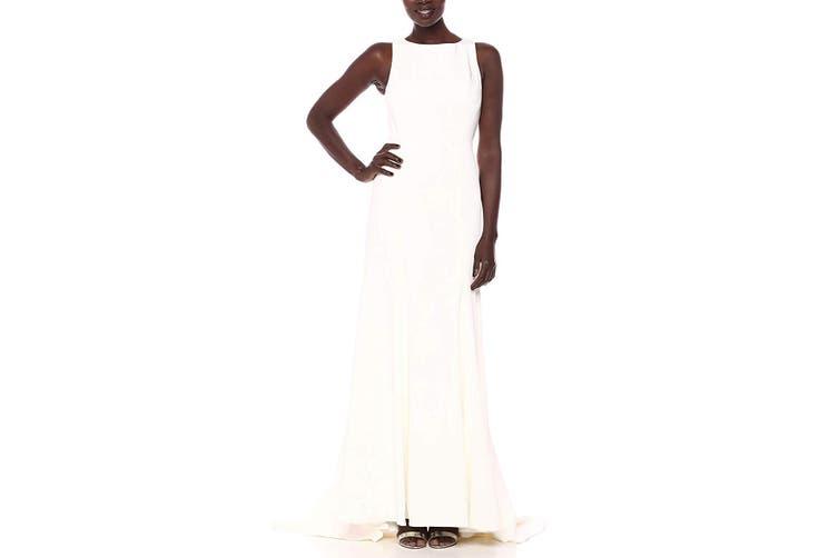 Jenny Yoo Womens Gown White Ivory Size 2 Boatneck Open Back Sleeveless