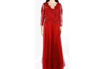 Babyonline Women's Gown Red Size 12 Floral Lace V-Neck Pleated Tulle