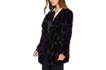 BB Dakota Women's Jacket Black Size Large L Open Front Faux Fur