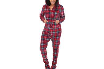 Alexander Del Rossa Women's Sleepwear Red Size Large L Plaid Footie