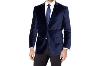 Designer Brand Mens Sport Coat Blue Size 46 Long Velvet Two-Button