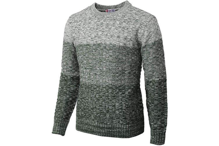 H2H Mens Sweater Green Size 2XL Crewneck Knit Colorblock Rib Pullover
