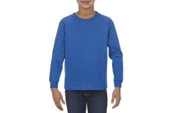 Alstyle Blue Size Small S Boy's Crew Neck Long Sleeve Tee Shirt Cotton