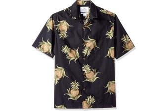 28 Palms Mens Black Size 2XL Pineapple Button Down Shirt Cotton