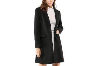 Allegra K Women's Coat Midnight Black Size XS Trench Notched Lapel