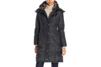 London Fog Women's Coat Black Size Large L Button Snap Zip Parka
