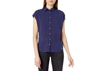 Designer Brand Blouse Blue Size XL Junior Short Dolman Sleeve Challis
