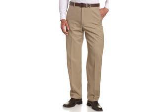 Haggar Mens Pants Beige Size 42X30 Classic Dress - Flat Front Stretch