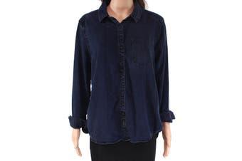 Calvin Klein Jeans Women's Button Down Shirt Blue Size Medium M Denim