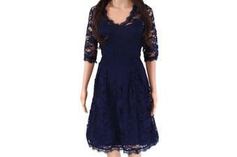 Angvns Women's Dress Navy Blue Size Large L A-Line Lace V-Neck Floral