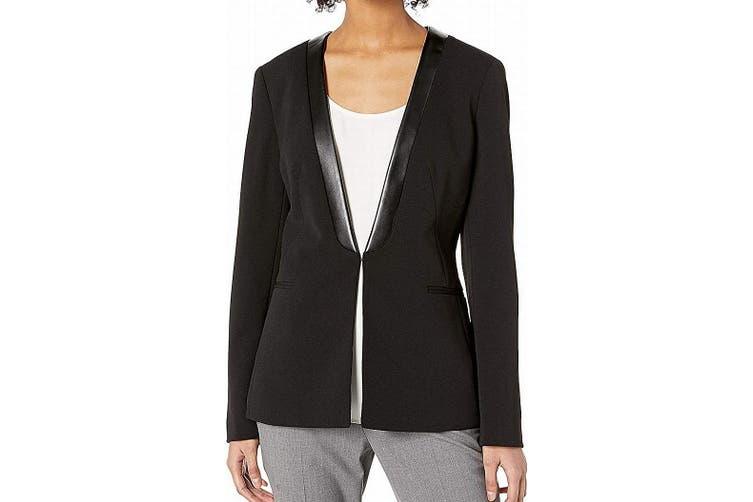 Kasper Women's Blazer Midnight Black Size 4 Faux-Leather Lining Collar