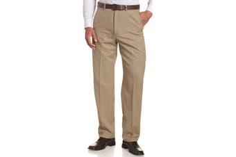 Haggar Mens Pants Beige Size 38X32 Classic Dress - Flat Front Stretch