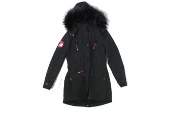 Canada Weather Gear Mens Black Size Small S Full Zip Fur Hooded Parka Coat