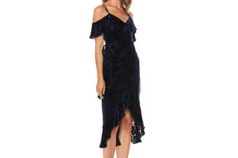 Ali & Jay Womens Dress Blue Size XS A-Line Velvet Floral Cold Shoulder