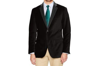 Designer Brand Mens Sport Coat Deep Black Size 44 One-Button Velvet