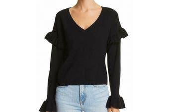 BB Dakota Women's Sweater Black Size Small S V-Neck Bell-Sleeves
