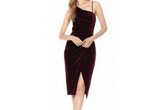 Black Halo Women's Aracely Dress Red Size 8 Sheath Velvet Ruched
