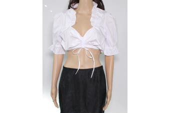 Edelnice Women's Blouse Ultra White Size 38 Ruched Tie Front Crop Top