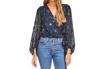 ASTR The Label Women's Blouse Blue Size Small S Floral Print Bodysuit