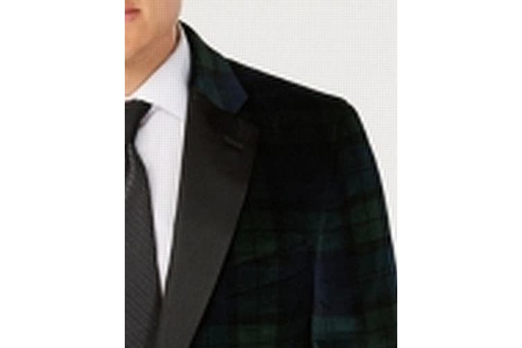 Tommy Hilfiger Mens Sport Coat Green Size 40 Short Plaid Modern Fit