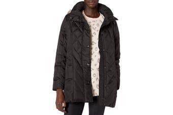 London Fog Women's Jacket Classic Black Size Large L Faux-Fur Hooded