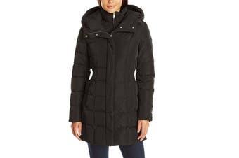 Cole Haan Womens Coat Black Size Large L Bib Front Hooded Zipper