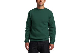 Russell Mens Sweater Green Size Medium M Crewneck Pullover Solid
