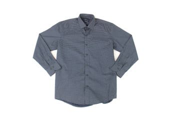 Buttoned Down Mens Dress Shirt Blue Size Large L Printed Long Sleeve
