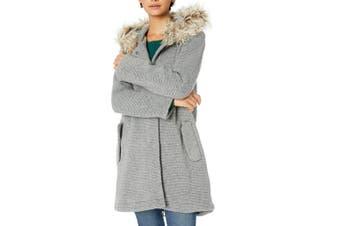 BB Dakota Women's Coat Gray Size Small S Ribbed Faux Fur Trim Hoodie