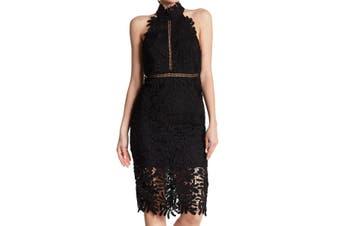 Bardot Women's Dress Black Size 10 Sheath Floral Crochet Halter
