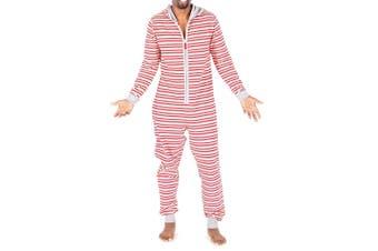 Burt's Bees Baby Mens Sleepwear Red Size XS One-Piece Striped Zipped