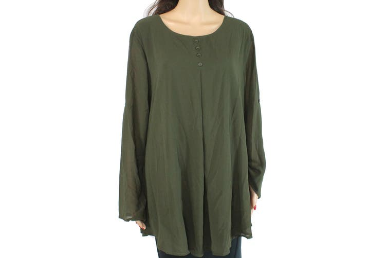 Cestyle Women's Blouse Forest Green Size XXL Chiffon Inverted Pleat