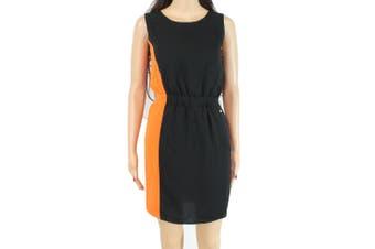 Armani Exchange Women's Dress Black Orange Size 2 Sheath Elastic Waist