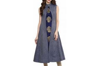 Aahwan Women's Dress Blue Gold Size XXL A-Line Fit & Flare Taffteta