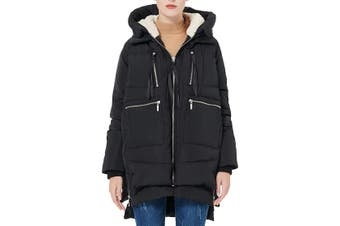 Designer Brand Women's Jacket Black Size Large L Sherpa Lining Thickened Down
