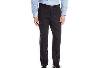 Haggar Mens Dress Pants Black Size 34X32 Classic Fit Flat Front Stretch