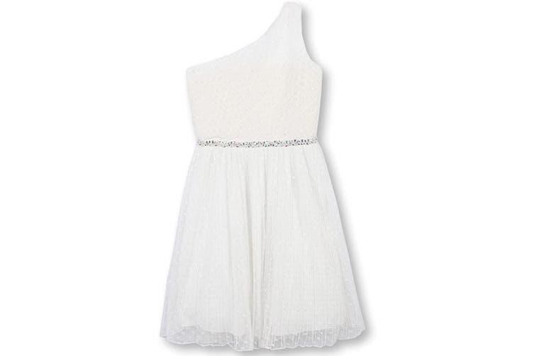 Speechless Girls' Big One Shoulder Dress White Size 16 Embellished