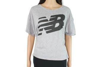 New Balance Women's Top Heathered Gray Size Large L Cropped Knit Logo