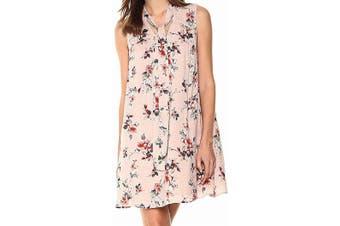 Blu Pepper Women's Dress Blush Pink Size Small S Shift Floral Tie Neck